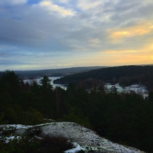 awesome lookout point for a sunrise view in sweden by the fjord